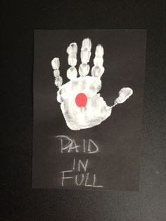 """""""Paid in Full"""" Easter craft from black cardstock, white paint, red paint and white chalk"""