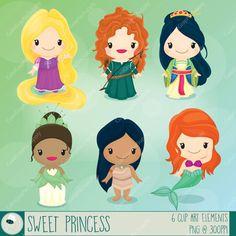 Princess Digital Clipart / Cute Princess Clip Art / Princesses Clipart / 6 PNGs, 300ppi / INSTANT DOWNLOAD / -LN064-