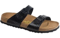 Papillio Sydney Paisley Tooled Black Embossed Leather Two thinner, contoured straps make this style very comfortable for those with prominent foot bones. Creative patterns and materials set the Papillio Sydney apart. #birkenstock #birkenstockexpress.com  $109