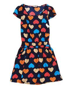 Navy Heart Print Round Neck Short Sleeve Rayon Dress