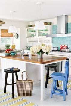 This kitchen has an open layout that suits a casual lifestyle with clean lines reminiscent of beach houses of years ago.