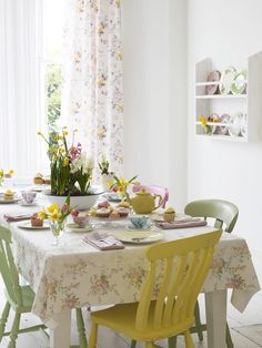 Spring Dining Styling by @selinalake #Mollietakeover * Spring Style tip Paint wooden dining chairs each a different spring shade, sunny yellow, pinks and spring greens. Tablecloth and curtains made using fabrics from Elanbach