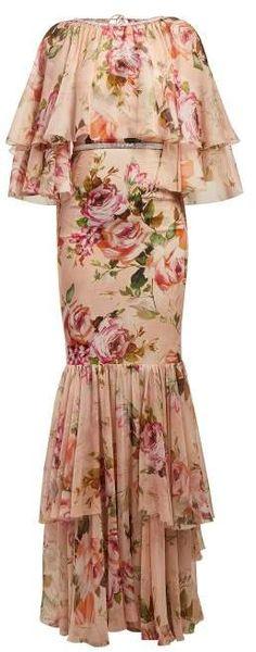 9f59c9001a3 Dolce   Gabbana Floral Print Silk Chiffon Gown - Womens - Pink Print