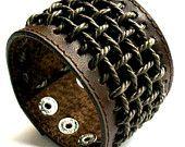 "Brown Leather braided Cuff Bracelet, Biker, Punk, adjustable 6.5"" to 8"""