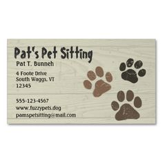 Pet Paws Business Card Templates. Make your own business card with this great design. All you need is to add your info to this template. Click the image to try it out!