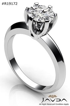 4g Six Prong Knife Edge Solitaire Engagement Ring 14k White Gold