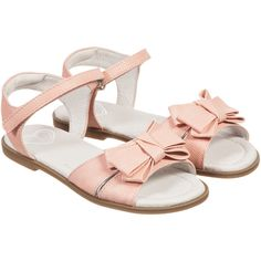 Mayoral Girls Pink Sandals with Velcro Strap & Bow at Childrensalon.com