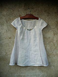 white linen shell buttons.