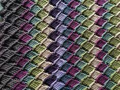 Crochet Stitches Tunisian Ravelry: Project Gallery for Tunisian Crochet Entrelac Throw pattern by Lion Brand Yarn - Crochet Fabric, Crochet Crafts, Crochet Flower, Crochet Ideas, Tunisian Crochet Patterns, Crochet Afghans, Crochet Granny, Knitting Patterns, Easy Crochet Blanket