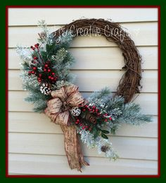 Christmas Wreath Holiday  Wreath Rustic by TjsCreativeCrafts