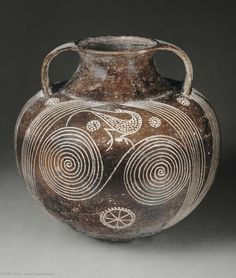 Amphora with Spiral Decoration, Southern Etruria, Italy, circa 700-680 BCE