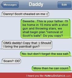 I don't know if this is real (aren't the green bubbles supposed to be from the person typing?) but it's still funny & if a dad was like this he'd be the coolest dad ever.<-- copy that Captain lol Funny Texts Jokes, Text Jokes, Funny Text Fails, Cute Texts, Funny Text Messages, Stupid Funny Memes, Funny Laugh, Funny Relatable Memes, Hilarious
