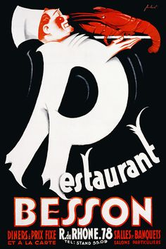 Restaurant Besson   c.1925   http://www.vintagevenus.com.au/products/vintage_poster_print-fd100