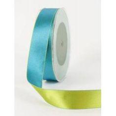 "1\"" Satin Reversible Stitched Edge Ribbon (2 Yards) - [354-34] Blue/Green"
