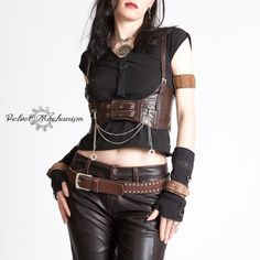 Steampunk Chest Harness BROWN Faux Leather Underbust Bodice with Silver Gears, Buckles, Chain, and Antique Keys by Velvet Mechanism. $55.00, via Etsy.