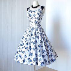 vintage 1950's dress ...beautiful KAY WINDSOR ORIGINAL blue floral polished cotton shelf-bust full skirt pin-up party dress