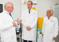 Prince William visited the Royal Marsden Hospital in London today with fashion designer Ralph Lauren (right)