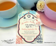 Alice in Wonderland Tea Party Invitation multi coloured - Bridal Tea - Baby Shower - Kitchen Tea - High Tea - Birthday Tea. Printable. by Time4TeaParties on Etsy https://www.etsy.com/listing/255619051/alice-in-wonderland-tea-party-invitation