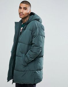 ASOS Oversized Puffer Jacket with Hood In Green - Green