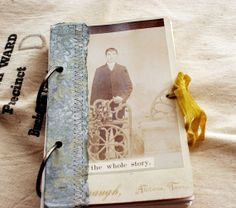 Rebecca Sower's handmade watercolor paper journal. Love the vintage photo and the simple binding. This one is already sold. Wah!