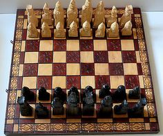#Large hand carved foldable wooden chess set- 54 x 54 cm #king-16.5 #queen-16.5 c,  View more on the LINK: 	http://www.zeppy.io/product/gb/2/172040244777/