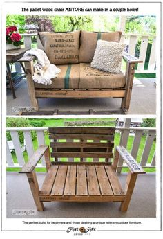 Love seat made out of pallets...cool. Covered in Coffee Bean Bags...way cool.