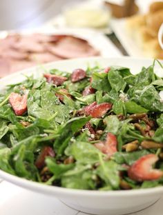 spinach & strawberry salad with poppy seed dressing and pecans