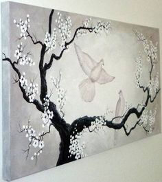 Doves and Blossoms Shades of Black White Gray and by ArtbySimplyMe
