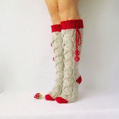 Oatmeal and strawberry color socks. Valentines Day women Gifts Knit socks. Handmade Knee high Socks Wool socks Warm winter socks. (52.00 USD) by mymomsshop1
