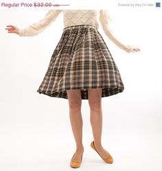 1950's Plaid Wool Skirt - Perfect for autumn