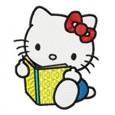 Hello Kitty Reading Book machine embroidery design. Machine embroidery design. www.embroideres.com