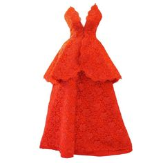 Nina Ricci Couture Red Corded Lace Evening Ensemble   From a collection of rare vintage evening dresses and gowns at https://www.1stdibs.com/fashion/clothing/evening-dresses/