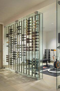 Glass Wine Cellar, Home Wine Cellars, Wine Cellar Design, Living Room Photos, Living Room Modern, Living Room Designs, Modern Wall, Kitchen Living, Small Living