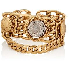 Maison Mayle Women's Siamese Rosette Bracelet ($725) ❤ liked on Polyvore featuring jewelry, bracelets, gold, engraved charms, clasp charms, coin jewellery, coin jewelry and oval charm