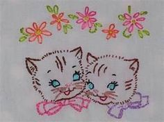 embroidered kittens
