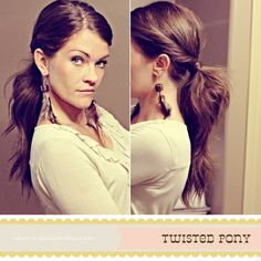 twisted pony.    Don't have time to do your hair? This is a 5 min hair do! Put a little more sass to that pony!    -Twist your hair away from your face and back as if you would put it into a pony right then. Pin it with a bobby pin.     -Do it to the other side.     -Pull your hair back in a messy pony. pull the bobby pins out of each twist. {They should stay in now that they are in the pony tail.}     - Grab a piece of hair from under your pony.    -Wrap it around your elastic a few times…