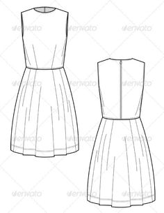 Fashion Flats for Knee Length Dress w/ Full Skirt - Man-made Objects Objects : Fashion Flats for Knee Length Dress w/ Full Skirt - Man-made Objects Objects Fashion Flats, Fashion Art, Trendy Fashion, Fashion Design Sketches, Fashion Designers, Fashion Project, Classy Casual, Designs To Draw, Cool Style