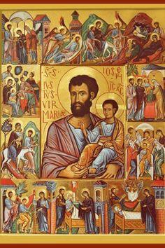 19 March - Feast Day - St Joseph The Josephian Mysteries Religious Images, Religious Icons, Religious Art, Catholic Art, Catholic Saints, Religion, Evening Prayer, Religious Paintings, Byzantine Icons