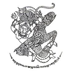 Yant Hanuman Kaew Nang Suwanmatcha: This Yant is suitable for those who want to be lucky in love as this Yant represents the gallant character of Hanuman flirting with one of his wife - Nang Suwanmatcha, who later becomes a mother of his son.
