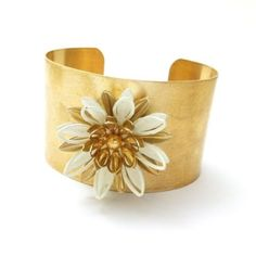 Vintage White Enamel Floral Gold Cuff Bracelet by . http://www.laurajamesjewelry.com/products/vintage-gold-etched-white-enamel-flower-pendant-cuff-bracelet http://thenearby.com/posts/921