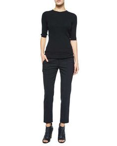 Skinny+Ribbed+Short-Sleeve+Top+&+Pintuck+Side-Tab+Pants+by+Vince+at+Neiman+Marcus.