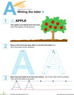 Preschool Letters Fine Motor Skills Worksheets: A is for Apple! Practice Writing the Letter A Preschool Writing, Preschool Letters, Alphabet Activities, Preschool Learning, Preschool Activities, Teaching Kids, Preschool Homework, Kindergarten Classroom, Learning To Write