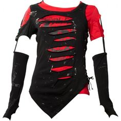 Black and red punk shirt for girls by Queen of Darkness, slashed holes, safety pins and detachable sleeves.