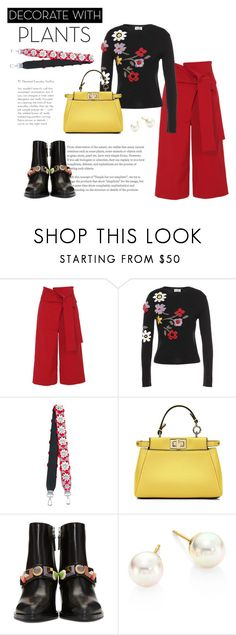 """""""Untitled #146"""" by berryciecy ❤ liked on Polyvore featuring TIBI, RED Valentino, Fendi, Majorica, plants and planters"""