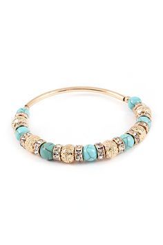 Turquoise Bracelet with Charms and Crystal Rondelles.