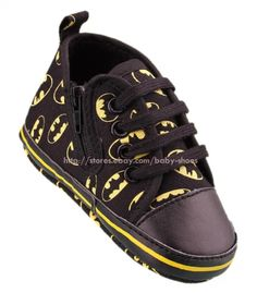 711ce0ed0c71d Infant Baby Boy Black Batman Soft Sole Pram Shoes Trainers Newborn to 18  Months