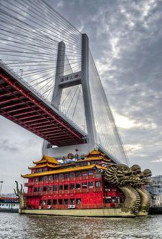 Nanpu Bridge Shanghai, China ♒ For more on bridge designs http://www.granitehistory.org/bridge-designs/