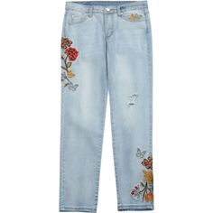 Ripped Floral Embroidered Narrow Feet Jeans ($28) ❤ liked on Polyvore featuring jeans, distressed jeans, distressed denim jeans, blue jeans, distressing jeans and torn jeans