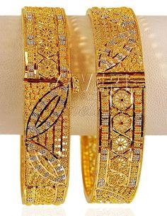 Bracelet Models - Gold 2 Tone Kada - My Popular Photo Gold Bangles Design, Gold Jewellery Design, Designer Jewellery, Bridal Jewellery, Silver Jewellery, Dubai Gold Jewelry, Dubai Gold Bangles, Gold Bracelets, Gold Necklaces