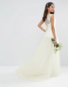 ASOS BRIDAL Princess Lace Bodice Mesh Skirt Maxi Dress|Wedding Dresses